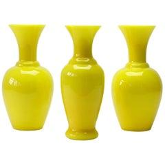 Cenedese Trio of Bright Yellow Vintage Italian Murano Art Glass Vases