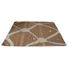Mexican Zapotec Wool Rug Abstract Modern Design Hand-Dyed Mustard White Brown