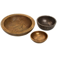 Solid Bronze Set 'Everest', 'Alpine' and 'Flora' Bowls with Wood Grain Texture
