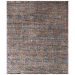Silver and Powder Blue Natural Silk Hand-knotted Rug with subtle Ikat Design