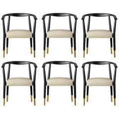 Set of Six Contemporary Black Wood Dining Armchair Upholstered in Beige