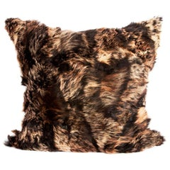 Real Fur Pillow, Truffle Brown, Authentic Toscana Sheep Fur