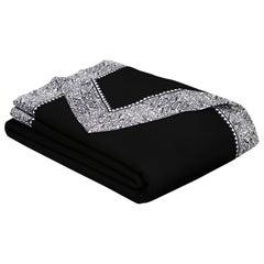 Merino Black King Size Blanket with Grey Print Border by JG SWITZER