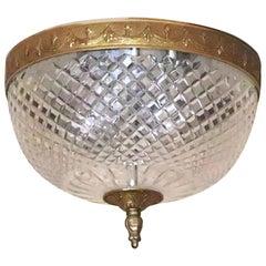 1931 NYC Waldorf Astoria Hotel Italian Cut Crystal Brass Flush Mount Light