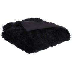 Black Toscana Sheep Fur Throw Blanket with Silk Backing by JG Switzer