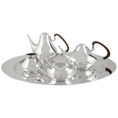 Vintage Georg Jensen Henning Koppel Tea and Coffee Set on Tray 1017
