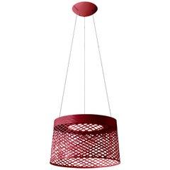 Foscarini Twiggy Grid Outdoor Suspension Lamp in Carmine by Marc Sadler