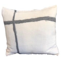 Hand Felted Wool and Silk Pillow with Grey Cross, in Stock
