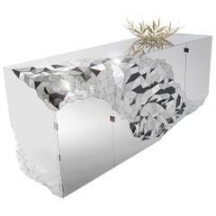 Geometric Cabinet in Mirror Polished Steel, Stellar by Jake Phipps
