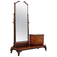 1900s Vanity Console Art Nouveau with Original Beveled Mirror in Walnut and Burl