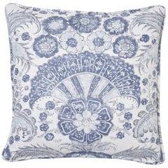 Schumacher Calicut Floral Delft Two-Sided Linen Pillow