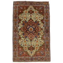 Red, Cream, and Light Blue Antique Persian Farahan Carpet c. 1890 in Pure Wool