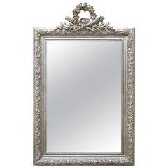 Antique French Silver Mirror with Pediment, circa 1900