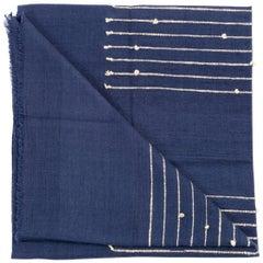 ROSEWOOD INDIGO Merino Cotton Handloom Throw / Blanket In Stripes Design