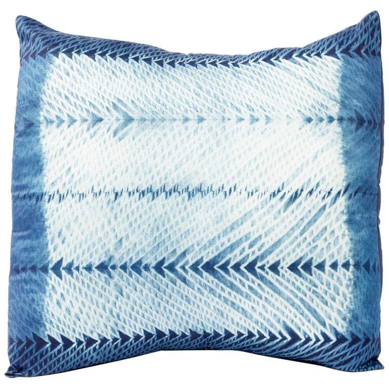 ARA Indigo Shibori Silk Pillow For Sale