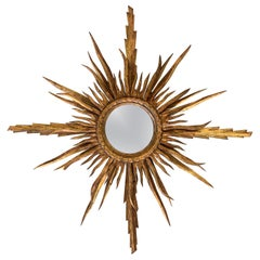 Unusual Early 20th Century Spanish Giltwood Small Starburst Sunburst Mirror
