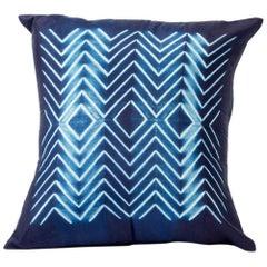NAAMI Color Block Shibori Silk Pillow in Indigo