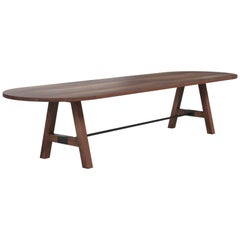 """Custom """"A-Frame"""" Conference Table Made from Solid Wood and Metal Details"""
