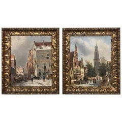 Pair of Antique Framed Oil Paintings on Board