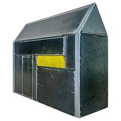 Barn House Structure, Welded Steel Decorative Object Made with Salvaged Steel