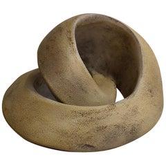 Amber Coil, Hand Built Ceramic Sculptural Organic Form in Subtle Earth Tones