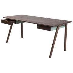 Contemporary Desk  in French Walnut and Metal, Jean Collection