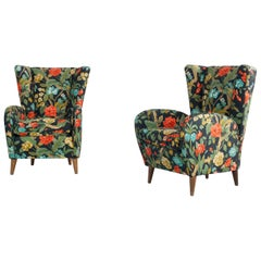 Italian Set of 2 Floral Armchairs in the Style of Paolo Buffa, 1950s