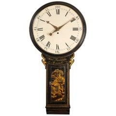 18th Century Antique Chinoiserie Tavern Wall Clock by Samuel Thorndike, Ipswich