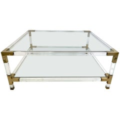 Large Square Coffee Table, Lucite and Brass, 1970