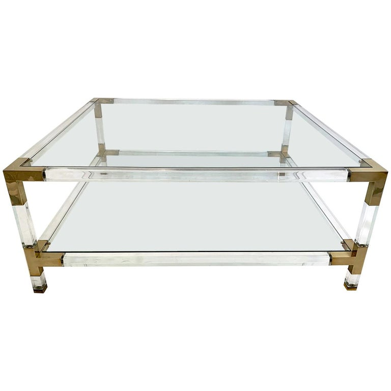 Large Square Coffee Table, Lucite and Brass, 1970 For Sale