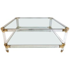 Large Square Coffee Table, Lucite and Brass, Italy, 1970