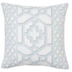 Schumacher Zanzibar Trellis Matte Winter Mint Two-Sided Linen Cotton Pillow