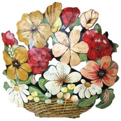French Tole Flowers Bunch Decoration, circa 1940
