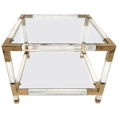 Square End Table, Lucite and Brass, 1970