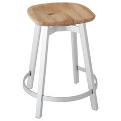 Emeco Su Counter Stool in Natural Aluminum w/ Reclaimed Oak Seat by Nendo