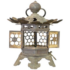 """Japanese Tall Antique Lantern with Double Doors and Fine Details, 12"""""""