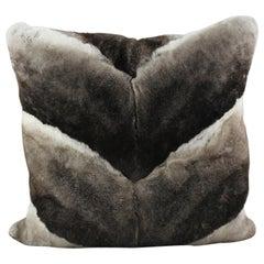 Grey Chinchilla Rabbit Fur Pillow Cushion