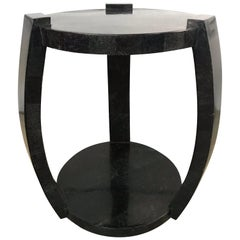 Maitland Smith Tessellated Black Marble Occasional Side or End Table