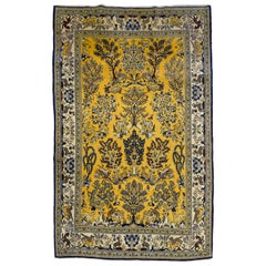 Vintage Gold and Blue Ghom Tree of Life Persian Carpet, circa 1940s in Pure Wool