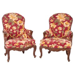 19th Century Pair of French Floral Upholstered Chairs