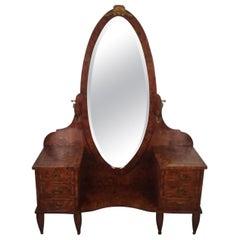 French Burled Walnut Vanity with Mirror