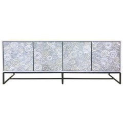Customizable White Blossom Glass Mosaic Buffet with Metal Base by Ercole Home