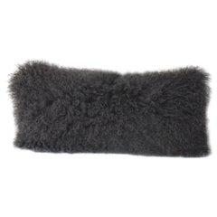 Charcoal Grey Mongolian Fur Pillow - Lumbar Sheepskin pillow