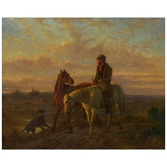 19th Century Antique Equestrian Oil Landscape Painting of Figure with Horses