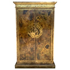 Hollywood Regency Brass Faces Dry Bar with Mirrored Interior