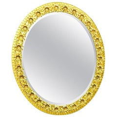 Oval Gold Plated Brass and Crystal Flowers Mirror by Palwa, circa 1960s