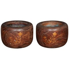 Late 19th Century Wood and Copper Braziers / Hibachis