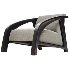 Cambre Lounge Chair in Ebonized Ash with Grey Upholstered Cushion by Wooda