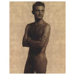 Karl Lagerfeld Satin Finish Umber Photo-Lithograph of Max Delorme, Nude, 1997