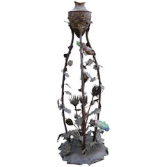 Rare French Art Nouveau Bronze Floor Lamp with Embossed Leaves, Flowers & Birds